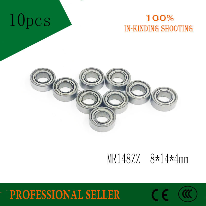 <font><b>MR148ZZ</b></font> Bearing ABEC-3 (10PCS) <font><b>8*14*4</b></font> mm Miniature MR148-2Z Ball Bearings MR148 ZZ L-1480ZZ MR148Z image