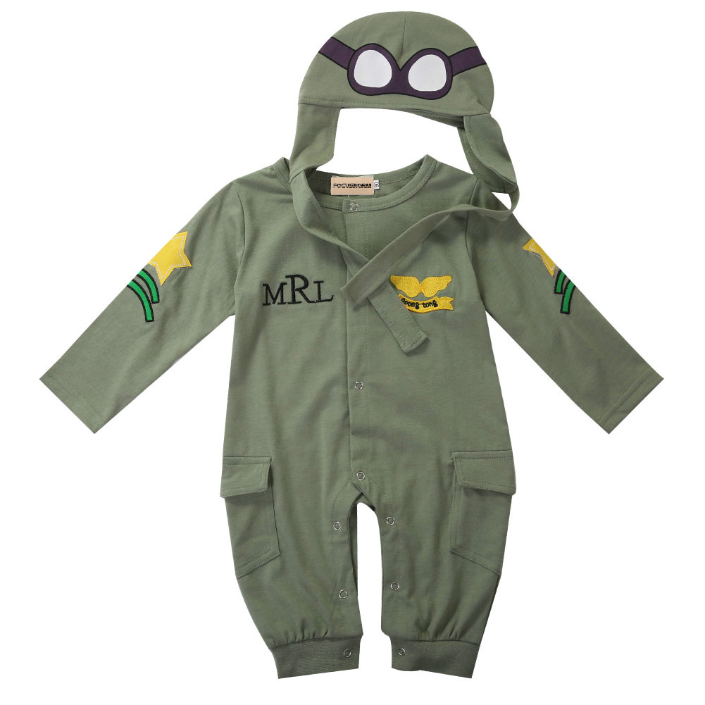 Autumn Baby Boy Kids Infant Cotton Romper Hat Cap Jumpsuit Outfits Set Adorable Baby Pilot Army Green Long Sleeve Romper 6-24M