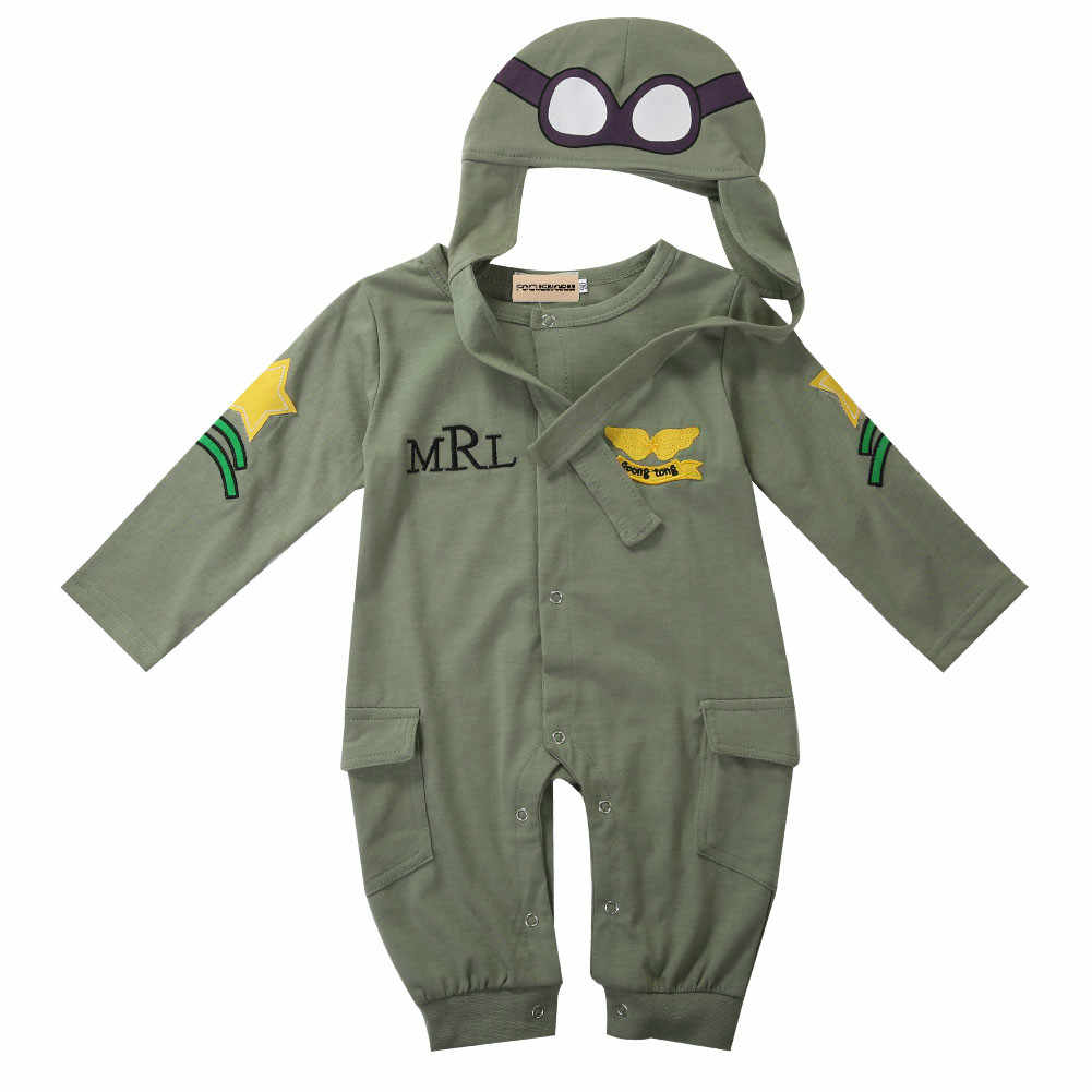 Autumn Baby Boy Kids Infant Cotton Romper Hat Cap Jumpsuit Outfits Set Adorable Baby Pilot Army Green Long Sleeve Romper 6-24M