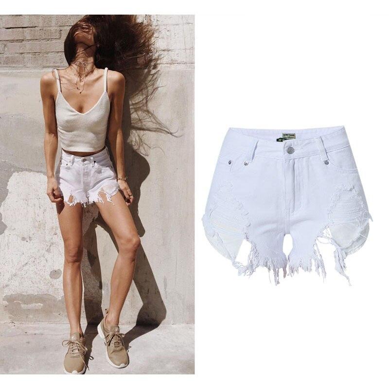 SUNSPA 2017 casual poches Déchiré shorts d été Short En Jean pour femmes  Sexy trou Blanc Bords Effilochés Taille haute jeans courts 29fa67d4a71