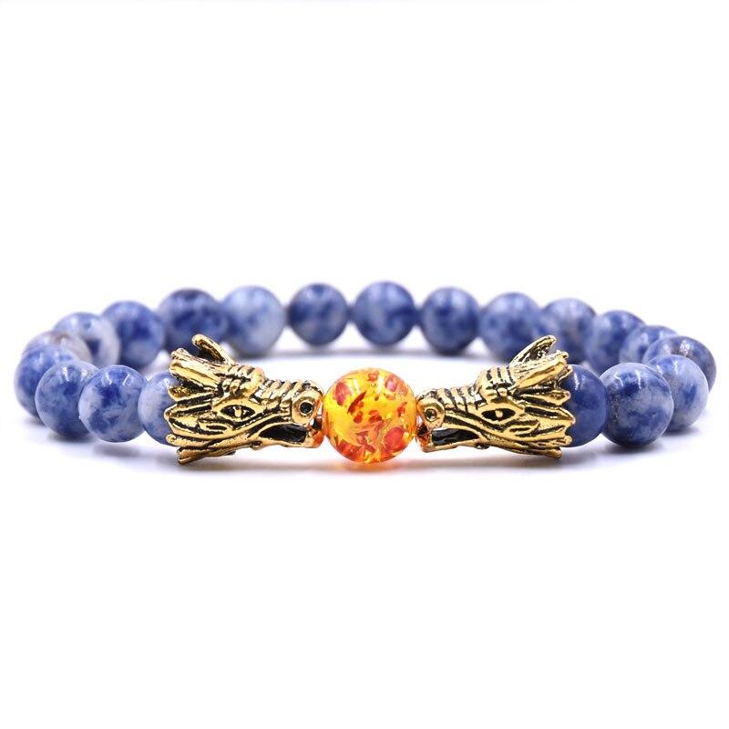 HYHONEY 8MM Natural Stone Beads Bracelet For Men bileklik Men Jewelry Dragon pulseras 15