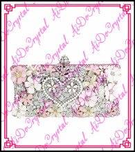 Aidocrystal blink kristalle rosa große blume herz muster phantasie damen kupplung handtasche für hochzeit