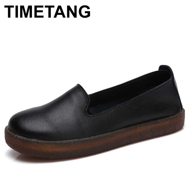 52b6b0bef3be TIMETANG Women Flats Shoes Genuine Leather Slip-on Round Toe Muscle Sole Ladies  casual Shoes