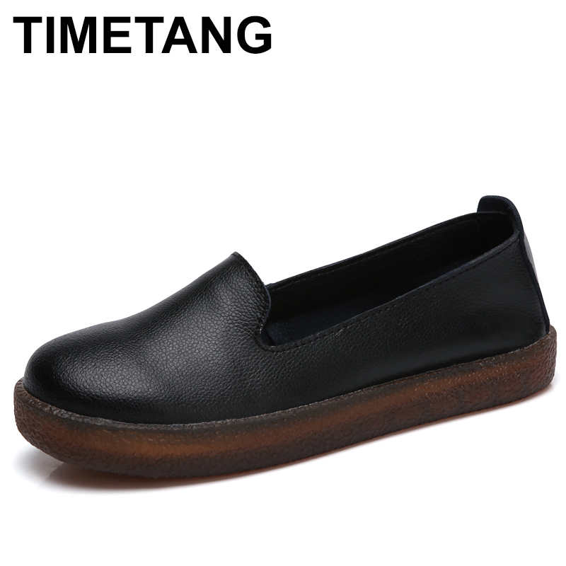 TIMETANG Women Flats Shoes Genuine Leather Slip-on Round Toe Muscle Sole Ladies casual Shoes Comfortable Soft Shoes Female Fall vintage embroidery women flats chinese floral canvas embroidered shoes national old beijing cloth single dance soft flats