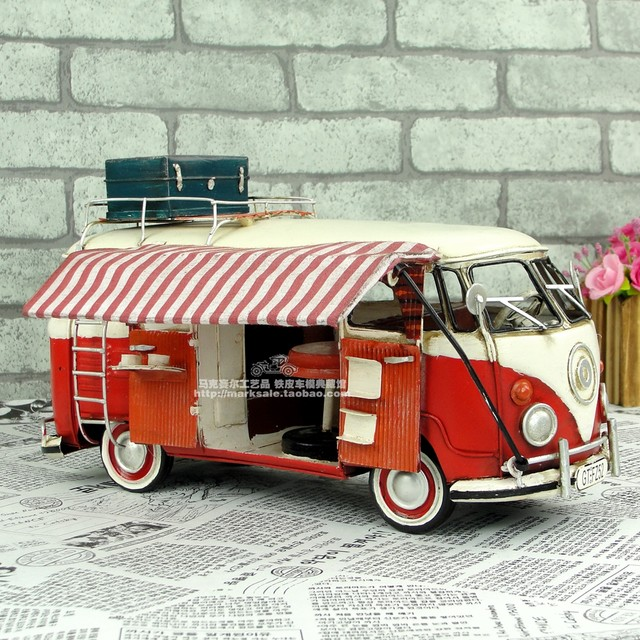 Antique Car Models Handmade Retro Metal Crafts Classic Camper RV For Ornaments Home Dining Room Decorations Birthday Gift