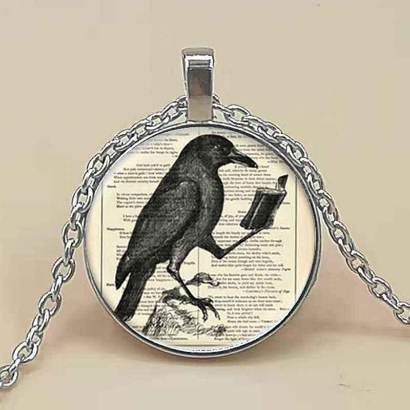 Kruk wisiorek Crow naszyjnik gorąca szklana kopuła biżuteria szkło Cabochon kopuły wisiorki naszyjniki ptak biżuteria