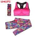 Umlife nuevas mujeres del juego del deporte sujetador deportivo y polainas impresas ropa de entrenamiento de yoga set gym fitness correr ropa deportiva elástica