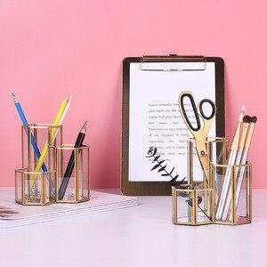 Image 2 - イン北欧ガラスペンホルダー & 収納チューブ化粧ブラシカートリッジレトロパックボトルガラスボックスオフィスアクセサリー鉛筆ホルダー