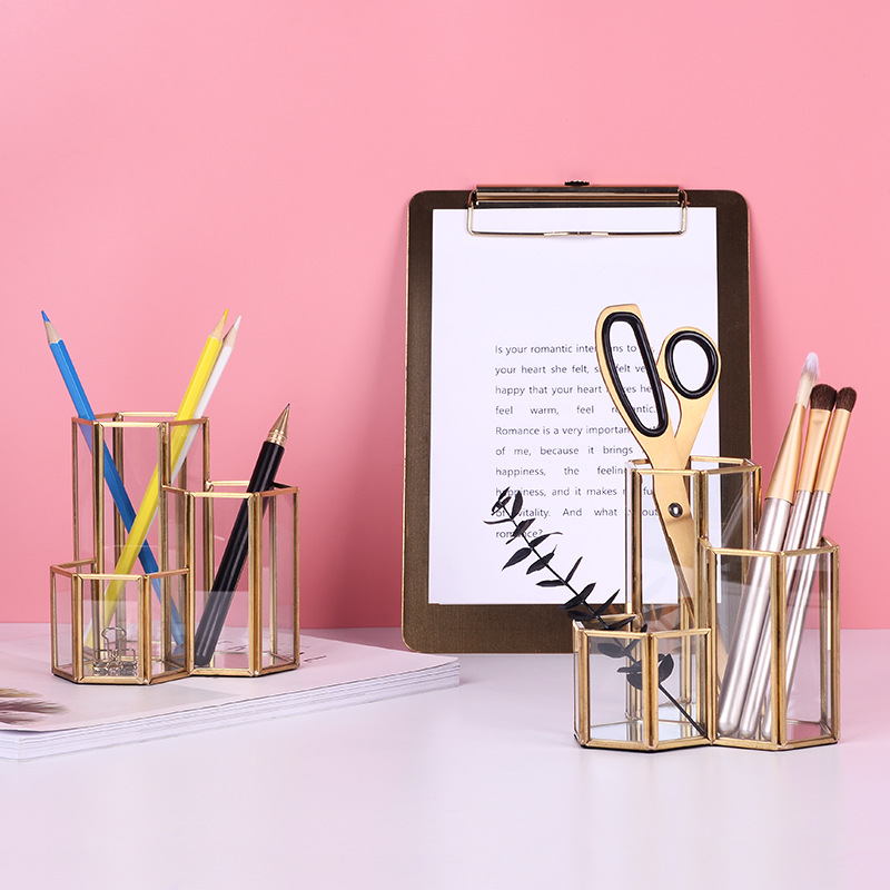 Image 2 - ins Nordic Glass Pen Holder & Storage Tube Makeup Brush Cartridge Retro Pack Bottle Glass Box Office Accessories Pencil Holder-in Pen Holders from Office & School Supplies