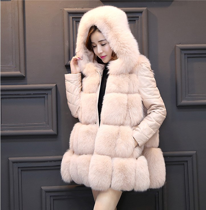 High Quality Faux Fur Coat For Woman Hooded Warm Coat Woman Winter Snow Palka Overcoat Detachable