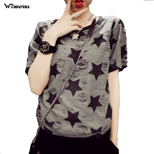 3e03acfec22 Clearance ! Women Plus Size T shirt Ladies short sleeve star print vintage  casual T-shirt big size summer tops for woman