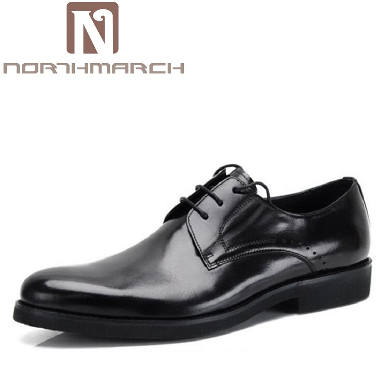 NORTHMARCH Men's Shoe Man Lace Up Genuine Leather Formal Shoes Cowhide British Fashion Business Dress Shoes Chaussure Homme Cuir british fashion men business office formal dress breathable genuine leather shoes lace up oxford shoe pointed toe teenage sapato