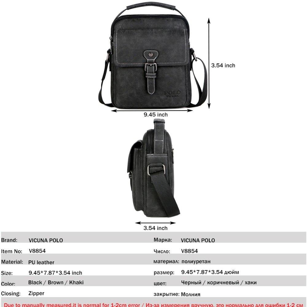7209ba92279 VICUNA POLO Vintage Men Shoulder Bag Portable Business Bag Men Leather  Black Handbag Magnetic Buckle Open Crossbody Casual Bags