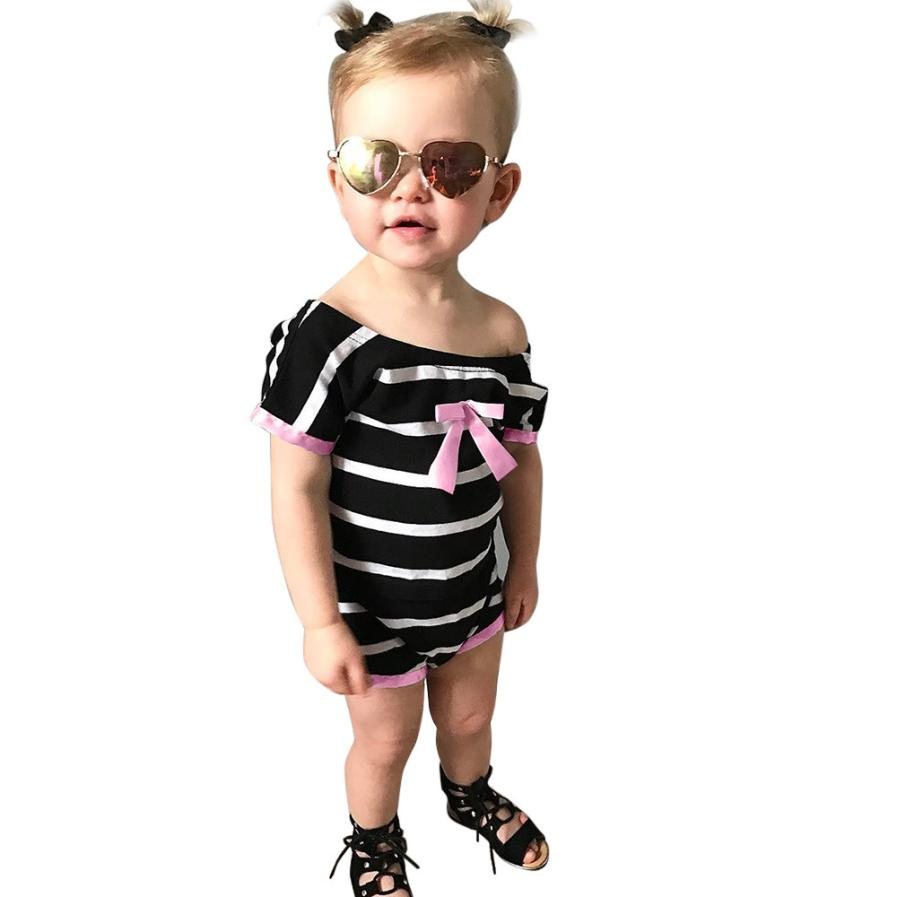 Boys&Girls Unisex Rompers Summer New Pink Black Striped Cotton Clothing Short Sleeve Bow Onepiece for Casual Kids 18Apr2
