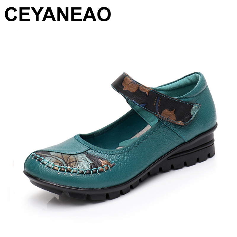 CEYANEAO Handmade Shoes Woman Genuine Leather Mary Janes Flat Shoes Female Casual Loafers Comfortable Mom Flats Women Shoes fashion woman casual shoes wild lace up loafers women flats comfortable footwear woman shoes breathable female shoes