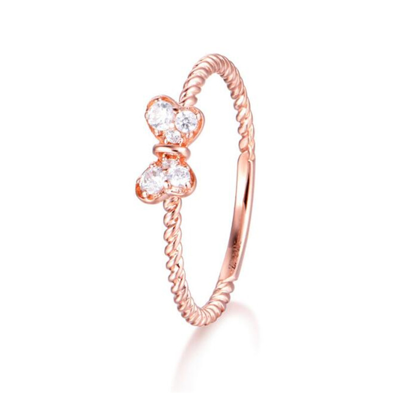 Austria Crystal Rings Rose Gold Color Finger Bow Ring Wedding Engagement Zircon Crystal Rings 18K Gold Women Jewelry Wholesale боди и песочники kiddy bird боди короткий рукав винтаж 2 шт