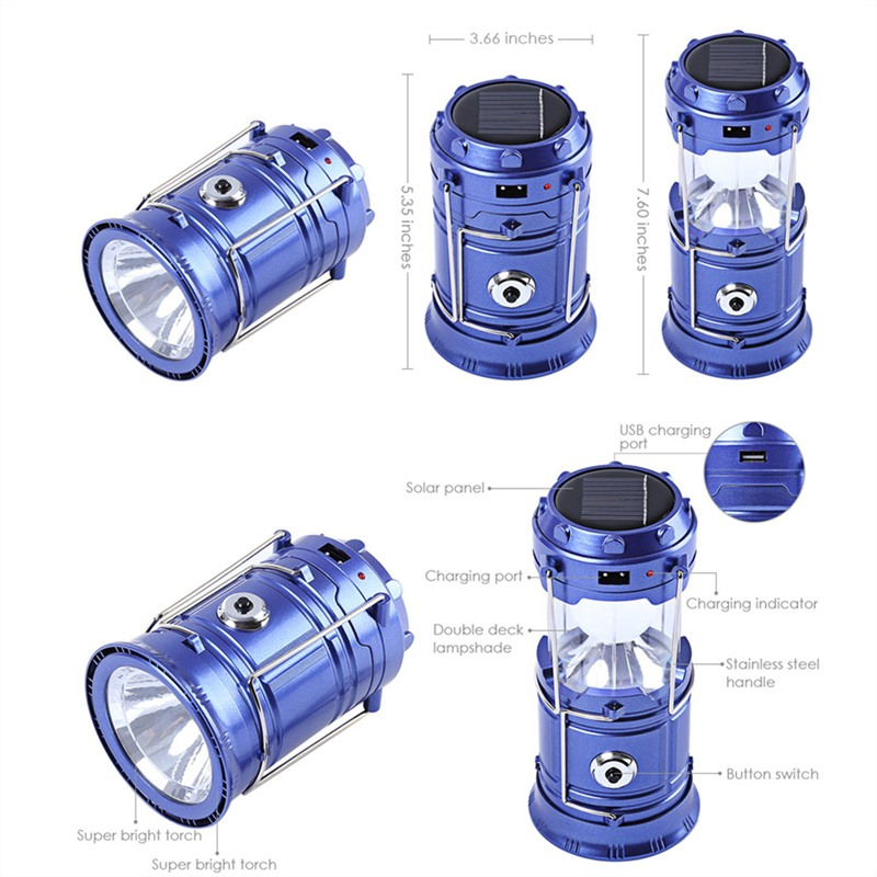 7-LED Rechargeable Solar Camping Lantern LED Torch Flashlight Cycling Tent Lights for Outdoor Lighting Hiking EU Plug