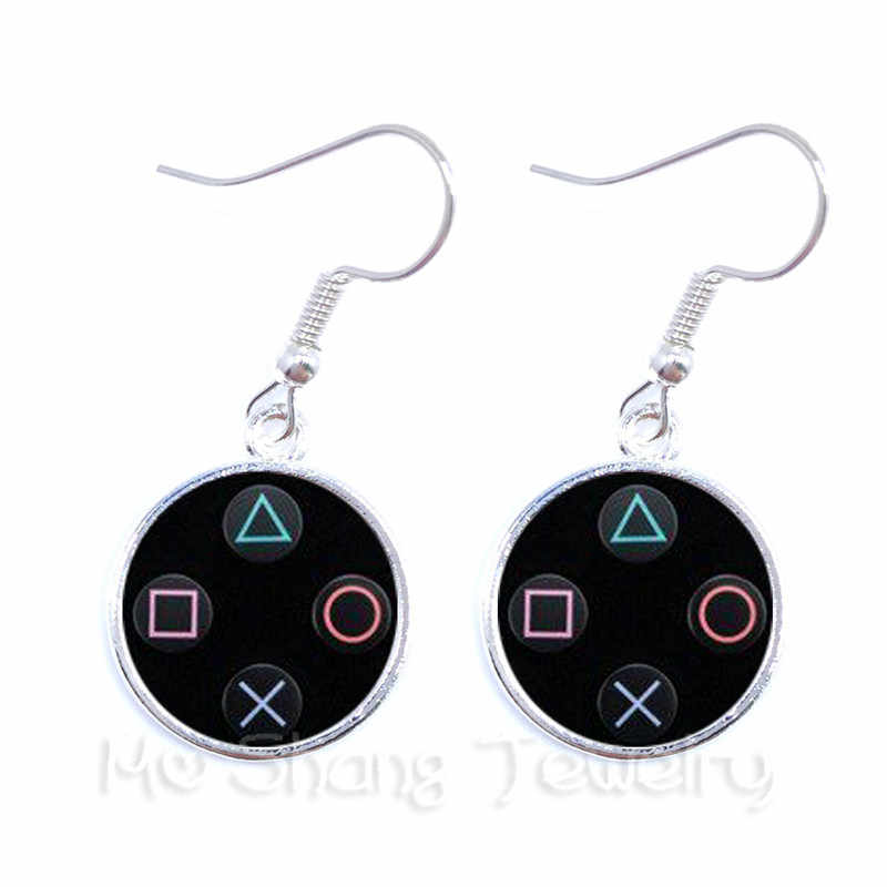 Vintage Video Game Controller Earrings Cool Men Gaming Gamer Jewelry Gift Retro Controller Gamepad Key Picture Drop Earrings