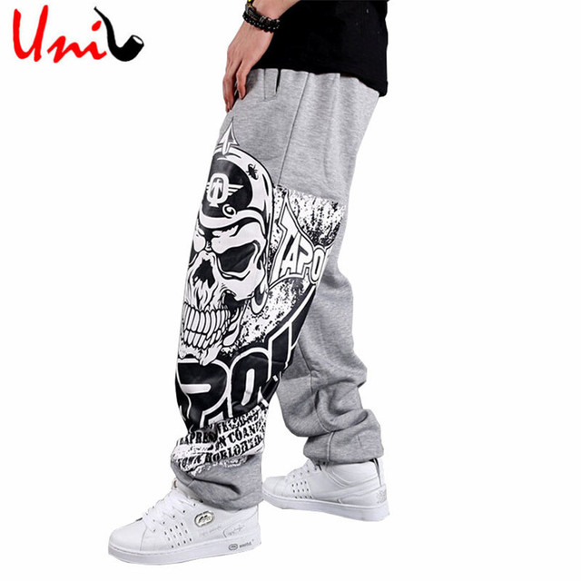 Uni-Splendor 2017 Autumn Hip Hop Style Men Casual Full Pants Black/Gray Print Skull Fashion Loose Big Size Long Trousers YN375