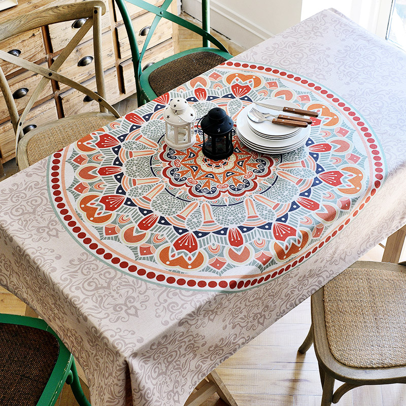 European style tablecloth ethnic square living room restaurant rectangle table cloth fabric