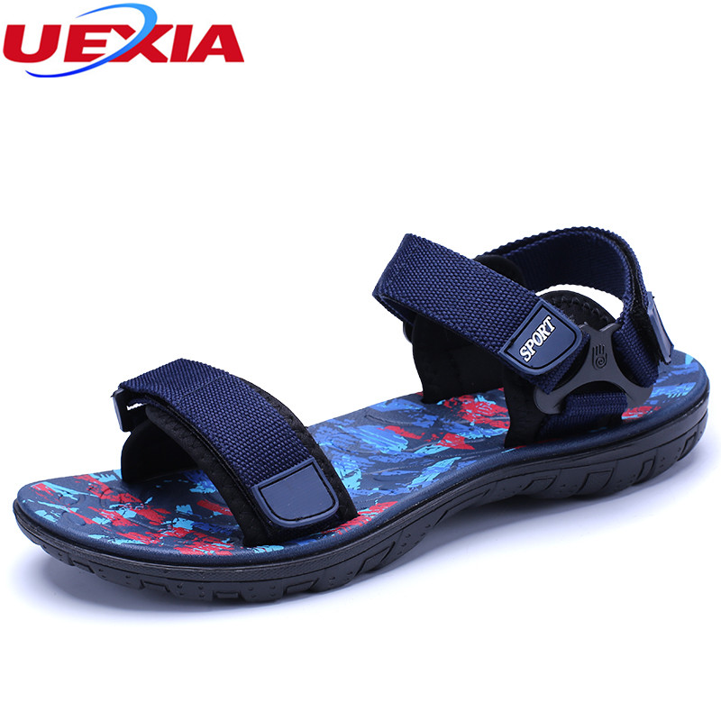 UEXIA Fashion Sandals Men Zapatillas Summer Beach Breathable Casual Solid Outdoor Shoes Male Footwear Slip On Walking Sandals