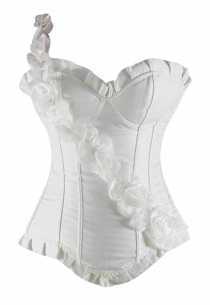 Корсеты, бюстье топы роза цветок жилет-корсет корсеты выше груди на одно плечо одежда на подтяжках пикантные вечерние черно-белые женские туфли с красной