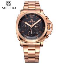 Megir Cronógrafo 6 Manos 24 Horas Reloj Hombre de Lujo de Los Hombres Correa de Acero Inoxidable Reloj de Cuarzo Analógico Reloj Casual de Negocios Horloge