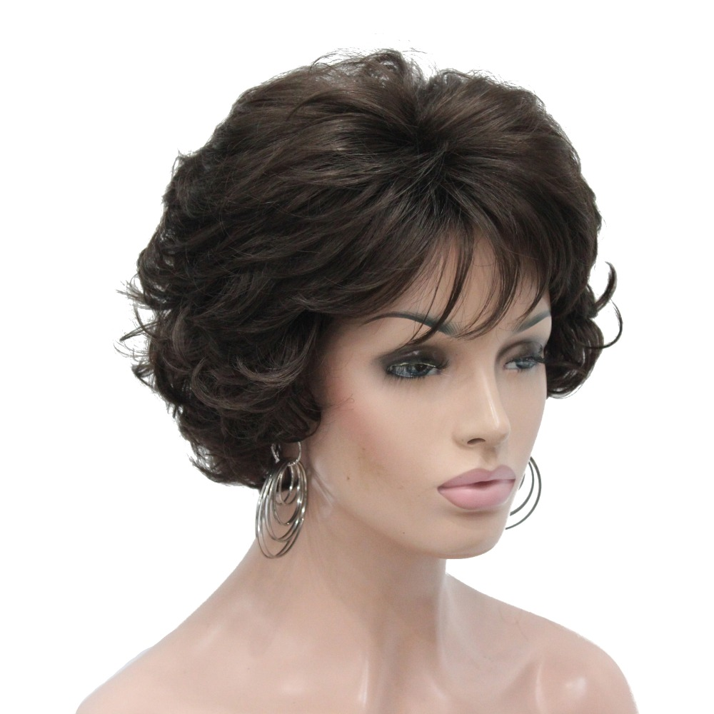 StrongBeauty Women's Short Wig Dark Brown/silver Natural Curly Hair Synthetic Full Wigs