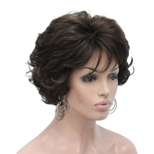 Image 1 - StrongBeauty Womens Short wig Dark brown/silver Natural Curly Hair Synthetic Full Wigs