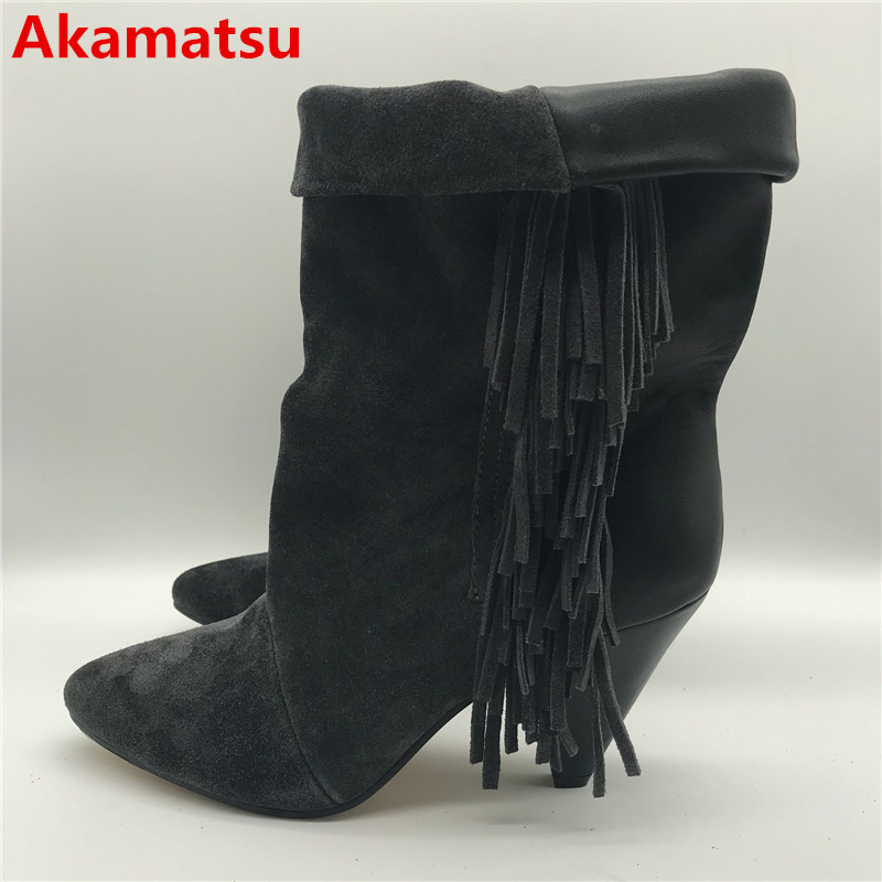 Akamatsu 2018 Ankle Boots for Women mid-calf Spike High Heel cowboy Boots black fringe botas feminina winter wedges shoes woman hot selling chic stylish black grey suede leather patchwork boots mid calf spike heels middle fringe boots side tassel boots