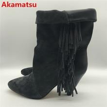 Akamatsu 2018 Ankle Boots for Women mid-calf Spike High Heel cowboy Boots black fringe botas feminina winter wedges shoes woman цена