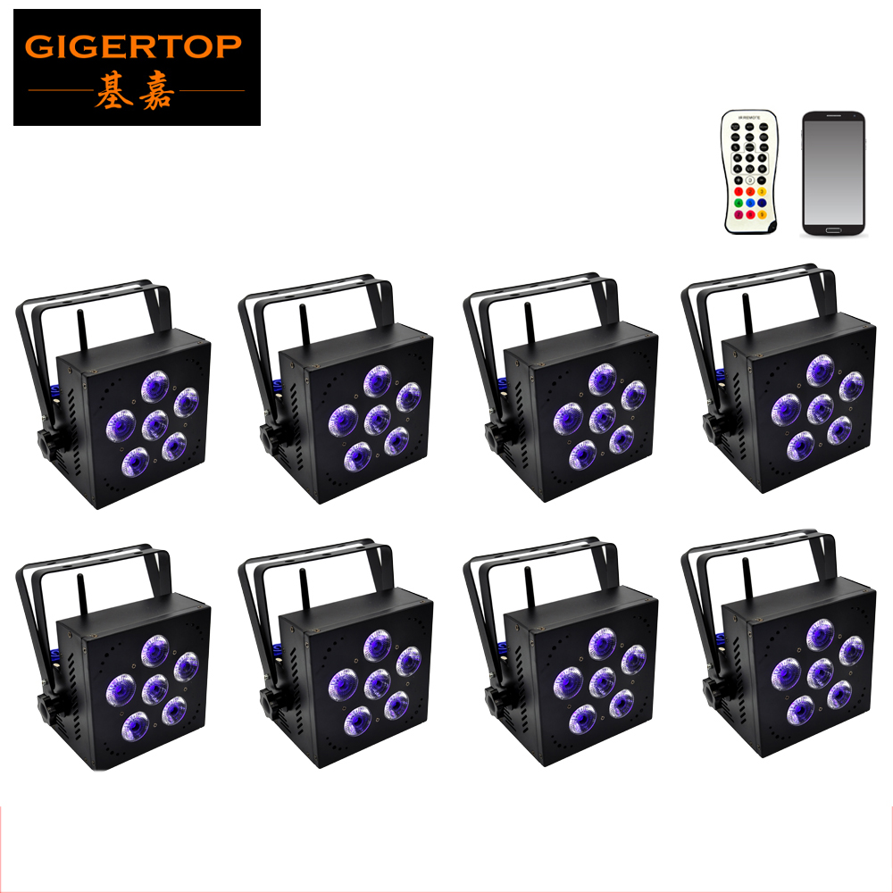 Us 1185 0 Freeshipping 8 Pack Led 6x18w Rgbwa Uv Battery Ed Wireless Dmx Dj Uplighting Par Can Up Light Fan Cooling Portable Handle In Stage
