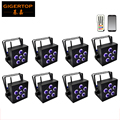 Freeshipping 8 Pack LED 6x18W RGBWA+UV battery powered WIRELESS DMX DJ Uplighting Par Can Up Light Fan Cooling Portable Handle