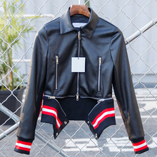 Motorcycle Faux Leather Jacket Coat European and American Style Luxury Brand Women Leather Jacket Striped Jaquetas Feminino C857