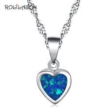 Heart shape desgin 925 Sterling Silver Necklace Pendant Created Blue fire Opal Jewelry For Women SP18