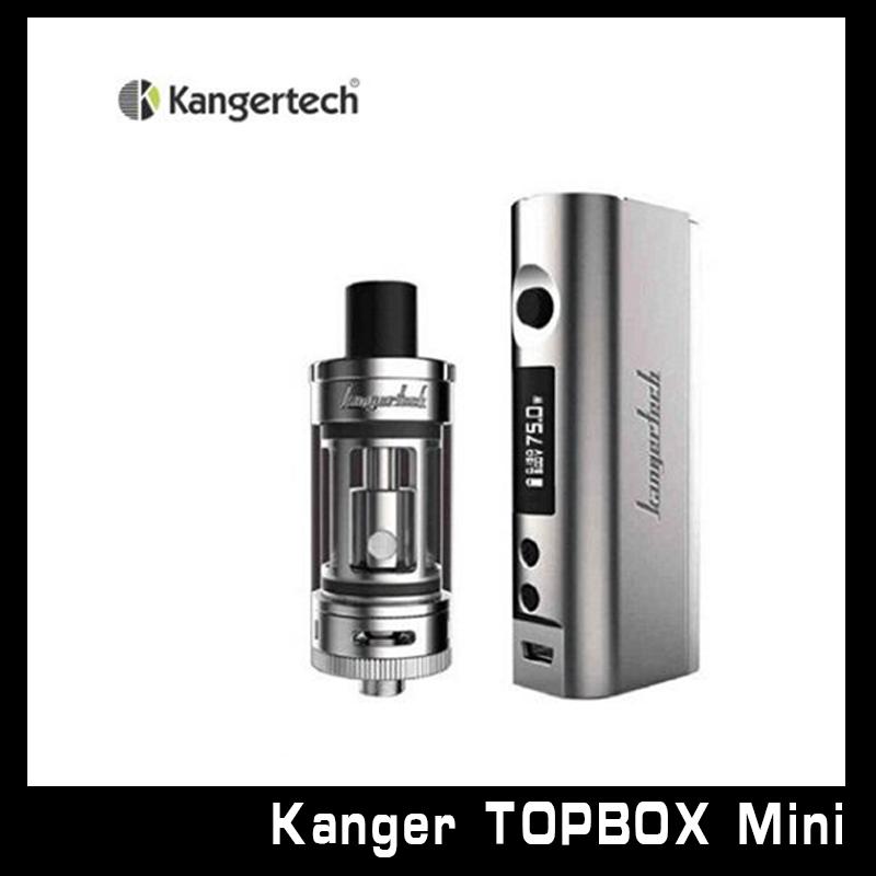 Prix pour 100% D'origine Kanger Topbox Mini Starter Kit 4 ML Débardeur Mini réservoir Kbox Mini Tc 75 W Mod Kangertech Topbox Mini Kit 1 Pcs/Lot