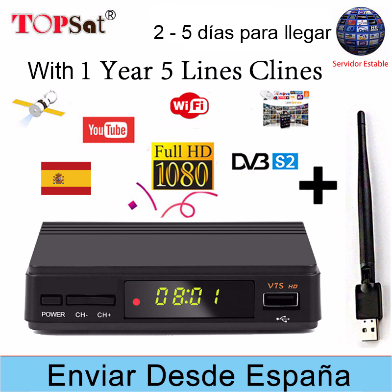 FREESAT V7S HD V7 HD Upgraded version Receptor DVB-S2 Satellite TV Receiver Decoder + Europe cline for 1 year spain + USB WIFI pk v7 hd x800 hd satellite tv receiver hd dvb s2 usb wifi decoder 1 year europe 5 lines cccam digital satellite receiver