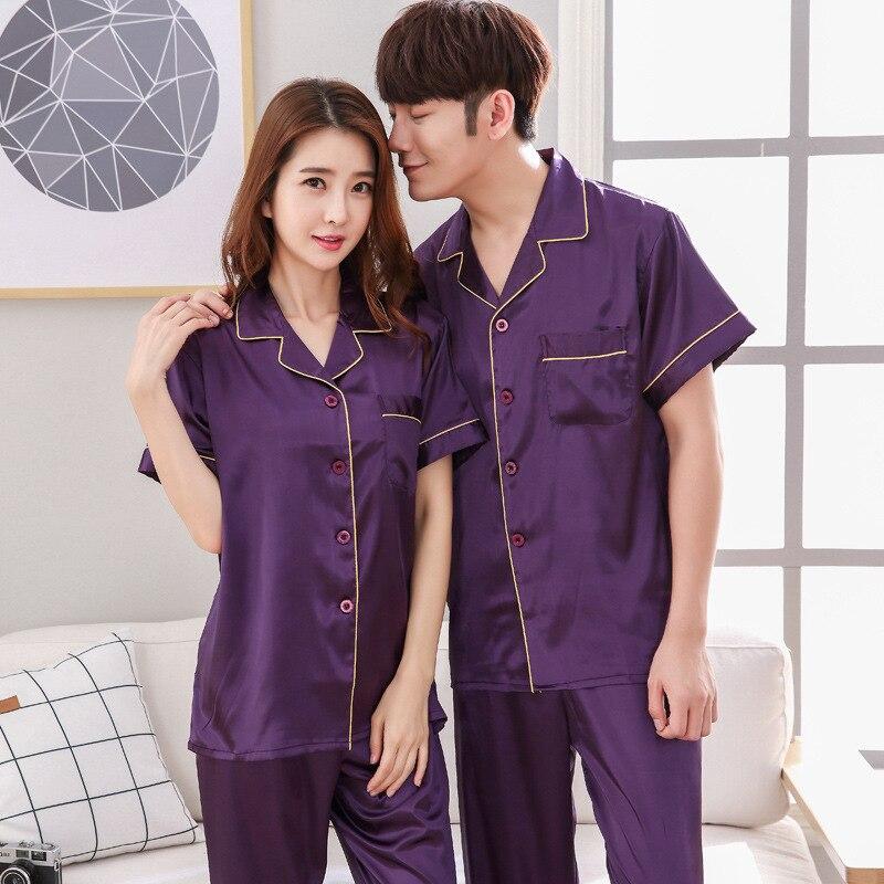 Men's Stain Silk Pajama Sets New Man Pajamas Silk Sleepwear Male Sexy Pyjamas Modern Style Soft Cozy Satin Homewear Sleep Lounge