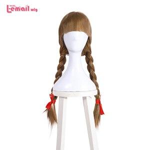 Image 1 - L e mail peruca boneca halloween annabelle cosplay perucas 65cm marrom reta peruca de cabelo sintético perucas cosplay
