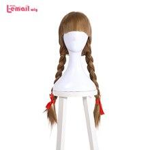 L email peluca para disfraz de muñeco de Halloween, cabello sintético liso, 65cm, color marrón