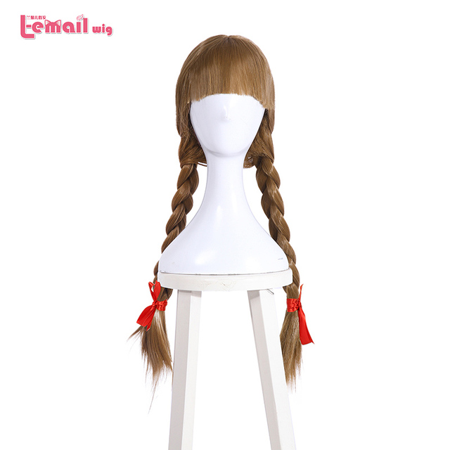 L email wig Halloween Doll Annabelle Cosplay Wigs 65cm Brown Straight Synthetic Hair Perucas Cosplay Wig