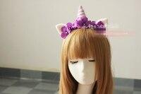 Лолита ручной Шерсть Розовый сон Фиолетовый Единорог Цветок Уши Лента Для волос Обруч Головной Убор свободный корабль