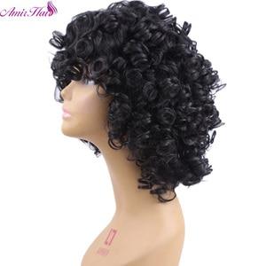 Image 2 - アミール合成ショートウィッグ黒アフロカーリーかつら女性のための自然な黒髪のかつら耐熱前髪かつら