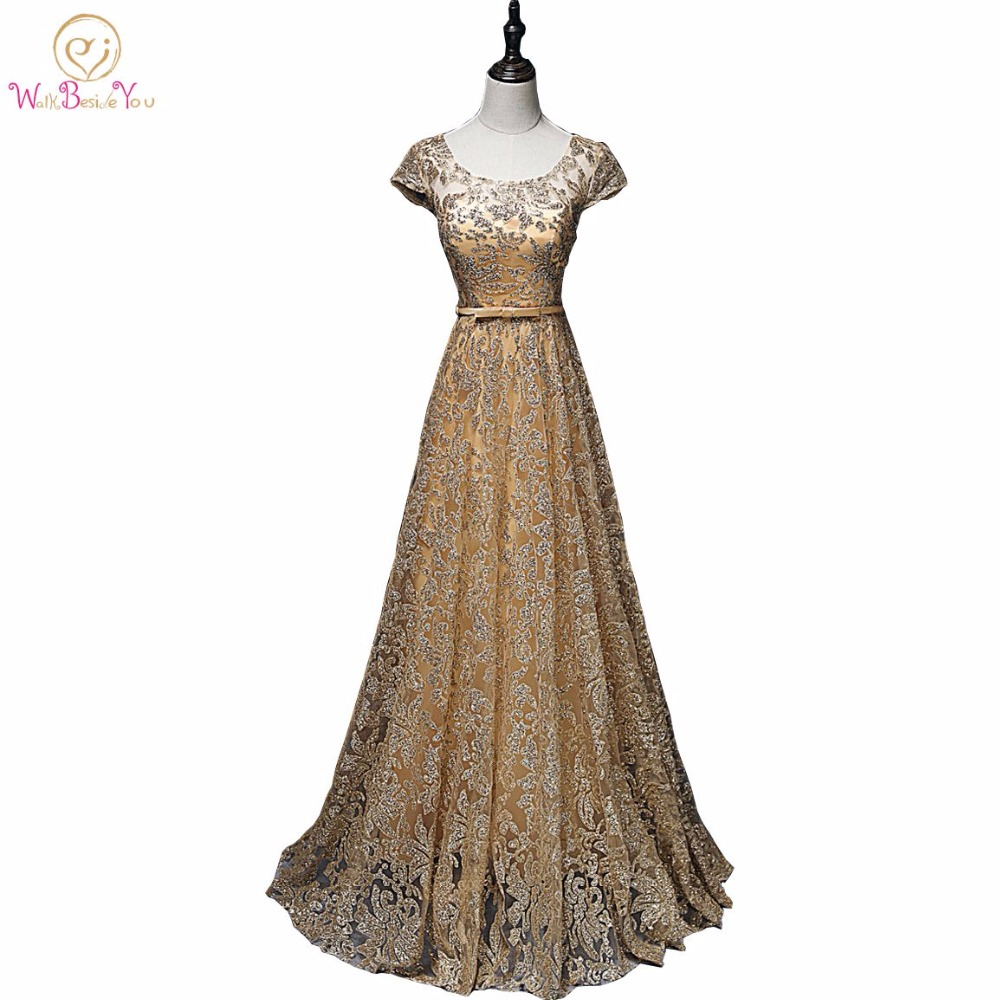 Walk Beside You Elegant Gold Evening Dresses Navy Blue Sequined Vestido De Festa Longo Party Prom Formal Christmas Dress
