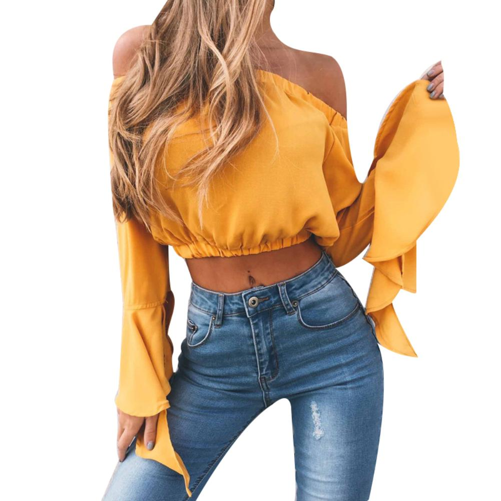 Women's Solid Color   Shirt   Tops Sexy Off Shoulder Backless Long Trumpet Sleeve Chiffon Female Girl Casual Crop Top   Blouse
