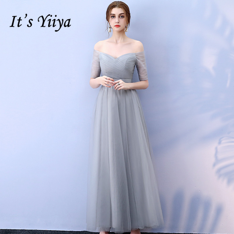 It's YiiYa   Bridesmaid     Dress   Half Sleeve Boat Neck Gray   bridesmaid     dresses   Elegant Lace Up Long Party Gown Candy Color JY001-2