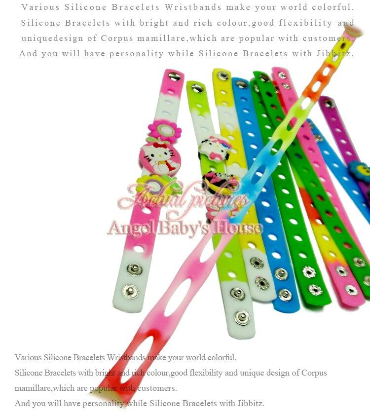 100 pcs 17 colors 21 cm/18 cm 고품질 연약한 실리콘 팔찌 wristbands 적합 만화 pvc 단화 매력 아이 파티 선물-에서신발 장식부터 신발 의  그룹 2