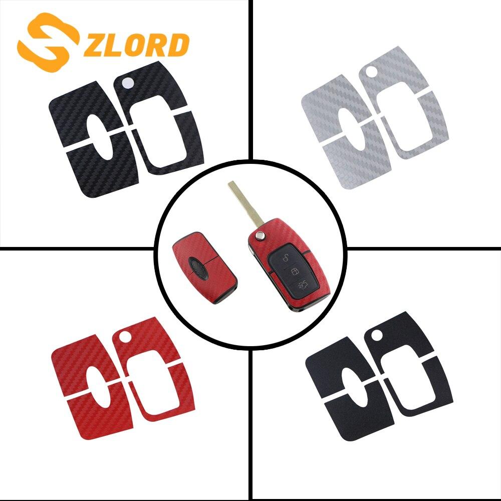 Zlord 1 ピース炭素繊維車のキー保護ステッカーカバーフォードフォーカスのための 2 MK2 2009-2012 フィエスタ ecosport 2009-2016