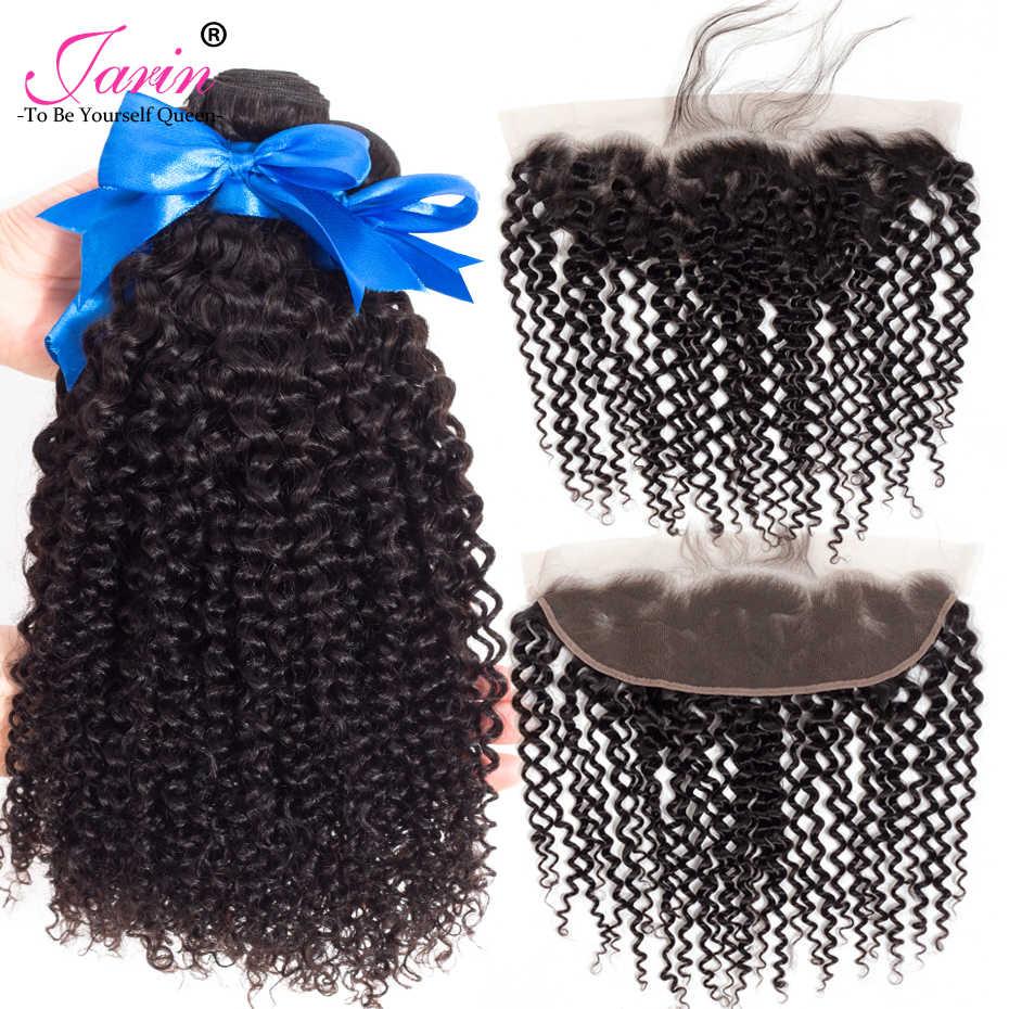 Перуанские вьющиеся волосы 13x4 кружева фронтальное Закрытие с пучками Jarin Remy человеческие волосы 3 пучка с кружевной фронтальной застежкой