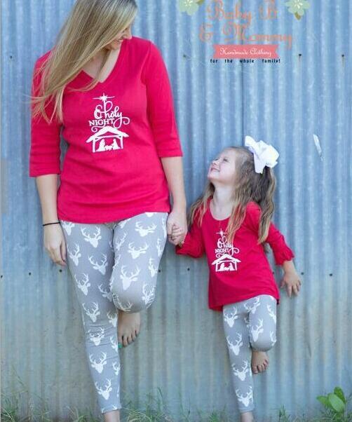 Christmas Family Pajamas Women Kids Mother DaughterToddlers Clothes Set Sleepwear Nightwear Pyjamas